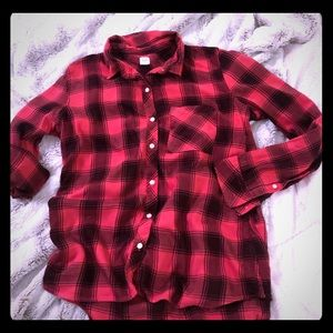 GAP red & black flannel, button up
